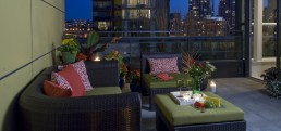 Condo outdoor living conversation area
