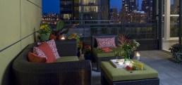 Condo outdoor living conversation area