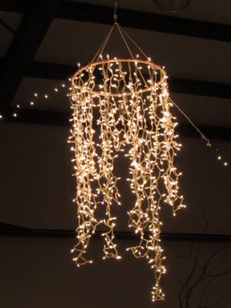 Create a string light chandelier