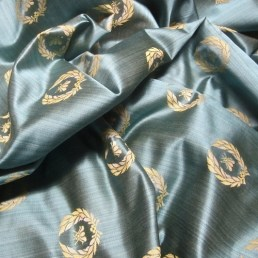 bee and wreath drapery fabric
