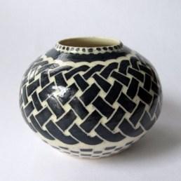 Vintage Chinese knotting work on ceramic