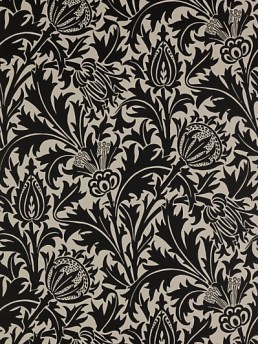 Black and white Morris thistle design pattern