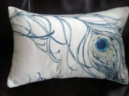 toss pillow peacock feathers