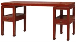 Wood console table finished in red