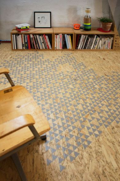 Plywood floor with stencilled pattern