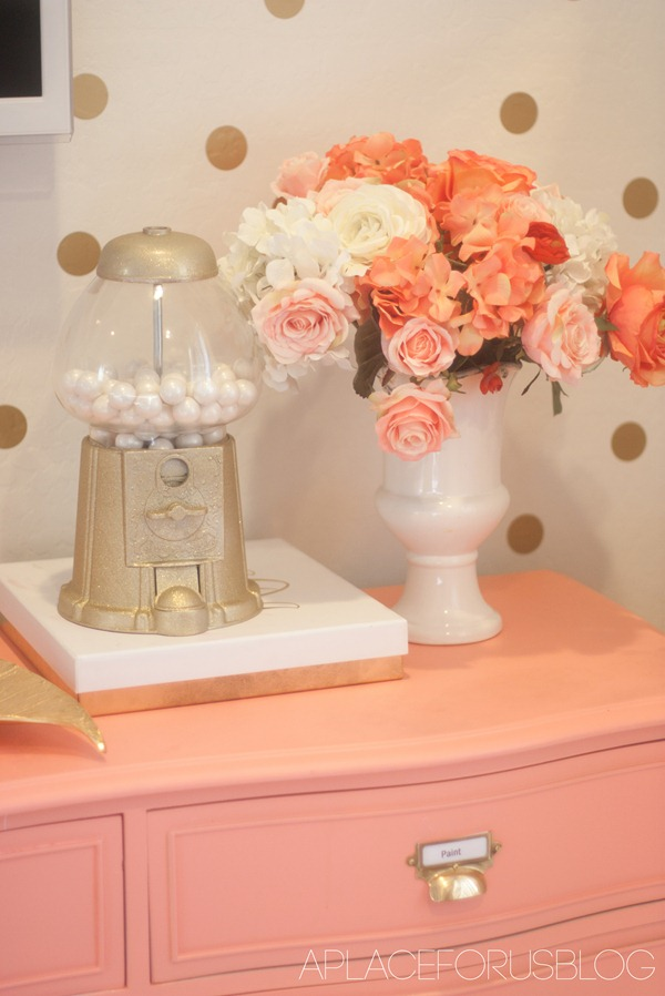 Coral Dresser with Gumball Machine