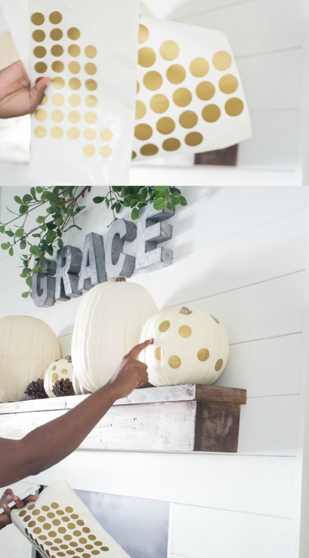 Gold DIY Polka Dot Pumpkins