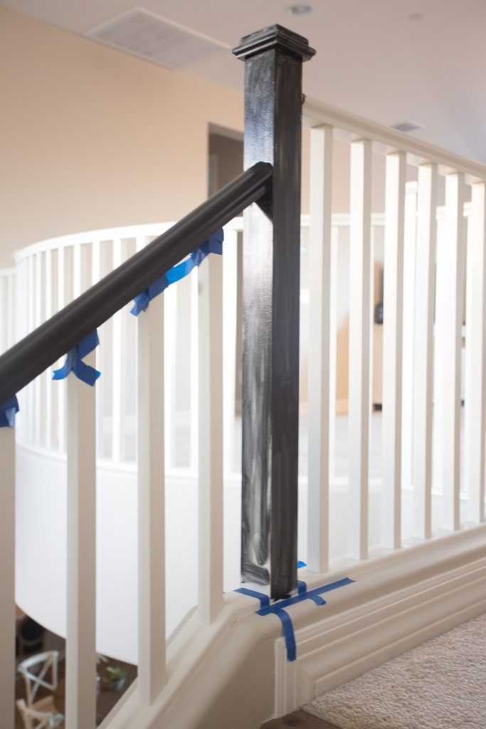 The Best Way To Paint Your Stair Rails Black Just Destiny   Black Wood Stair Railing   Hardwood   Curved Wood   Ash Gray   Oak   Cantilever Stair
