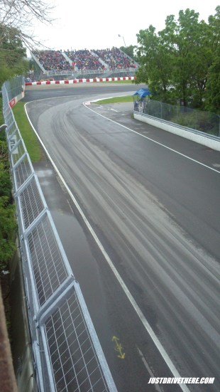 Turn 8 on Saturday, it's wet!