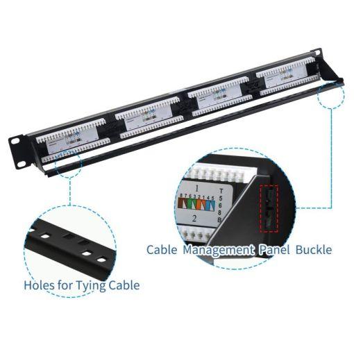 24 Port Cat5e 1U Rack Mount Patch Panel Cable Management