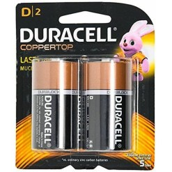 Duracell Coppertop Alkaline D Batteries 2 Pack