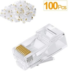 RJ45 Cat5e Crimp Connector 100 Pack Bulk