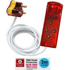 Ellies 4 Way Surge Power Protector 3 Meter Cord