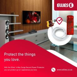 Ellies 4 Way Surge Power Protector FBWPX4 With 3 Meter Cord