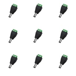 DC Male 12V Power Connector For CCTV Camera Pack of 10