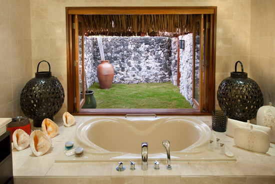 Bora Bora Resorts Rooms bathroom with outside view