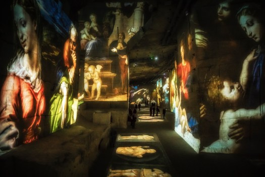 Les Baux de Provence is the location of an ancient limestone quarry where stones were cut for the construction of castles and nearby villages. It resulted in an enormous cavern which today has been transformed in to a venue for a fantastic multimedia light show known as Carrières de Lumières. This is an image I took from the show which featured works of the Renaissance masters set to a dramatic soundtrack. It's a stunning immersive experience and one that moved me profoundly. If you're in the area you really should check this out.