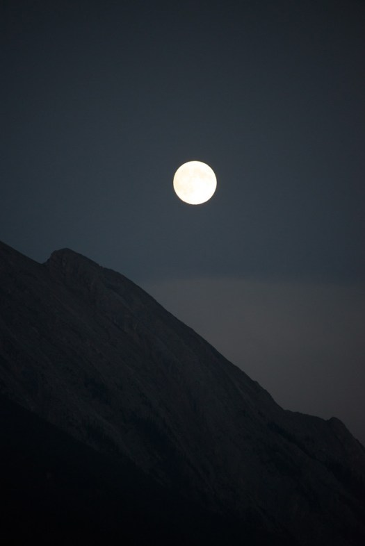 Full moon rising over Mt. Rundle in Banff National Park, Alberta. One of these days I'll be ready for the full moon rather than running about trying to capture it, as I did on this occasion.