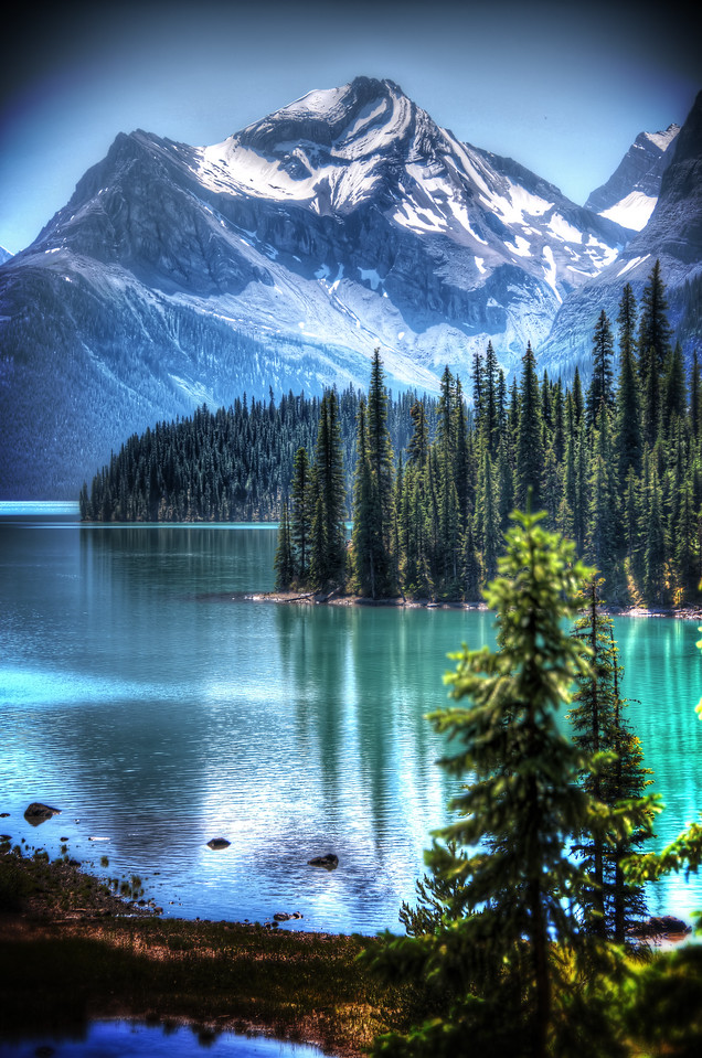 This was taken near Spirit Island on Maligne (pronounced mal-een) Lake in Jasper National Park, Alberta. It's hard to describe the majesty of this place. Truly beauty beyond words.