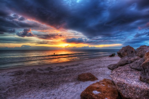 When I spied this shot I thought maybe I'd died and gone to heaven. Well, maybe not me but the folks watching the sunset in their beach chairs. Not many people that move down here to Manatee County in Florida return to their northern homes unless they're what we call