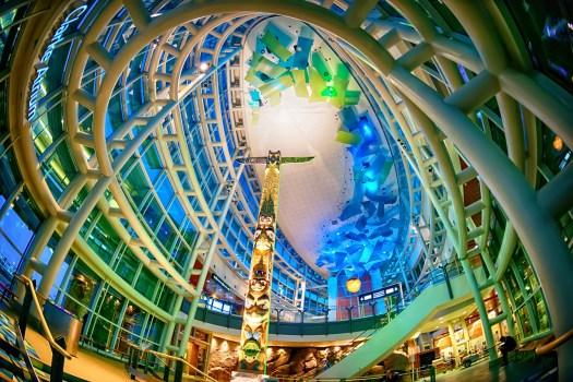 This is the Clark Atrium at Vancouver International Airport (YVR). Native American themes are show cased throughout this airport and, in my opinion, provide a sense of reverence for the land you are about to enter. Unless of course you're leaving.