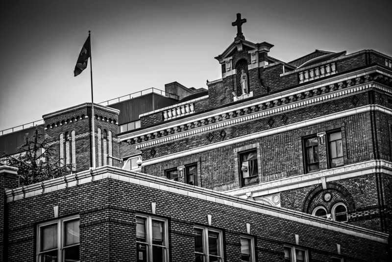 This is St. Pauls hospital located along Burrard Street in Vancouver. I liked the brick and older architecture because it contrasts with everything else. I think this works better in black and white, as it accentuates the lines and shape, which is what drew me to the building in the first place.