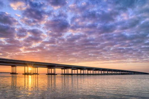 The interstate highway in Florida is long stretches of boring punctuated with brief glimpses of amazing. I75 is inland, protected from the hurricanes and marshes, but when it crosses waterway or rivers you get a quick glimpse of the landscape. This bridge stretches a mile over the Manatee River near my home and I managed to find a vantage to take this without walking through someone's backyard. Can you imagine waking up to this each morning?