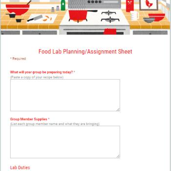 Food Lab Planning Google Form