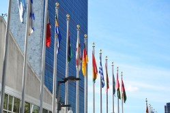 United Nations Flagpoles outside building