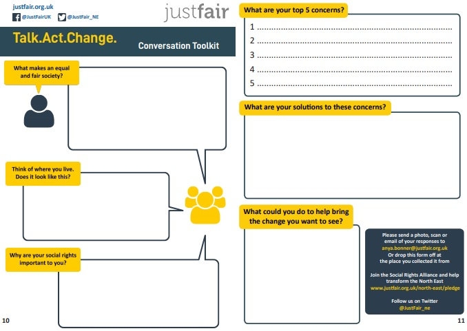 Image of the response sheet in the TalkActChange toolkit showing questions with empty boxes.