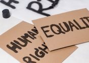 Human Rights, Equality placards