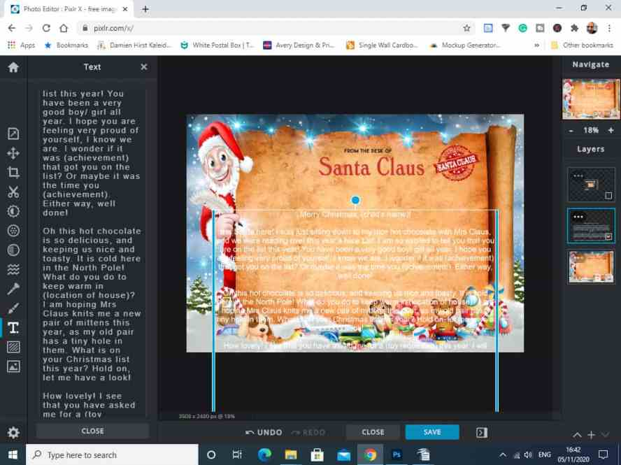 Adding Text to the Santa Letter