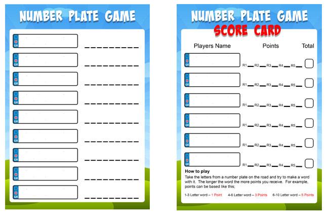 printable number plate game