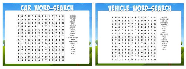 car word searches