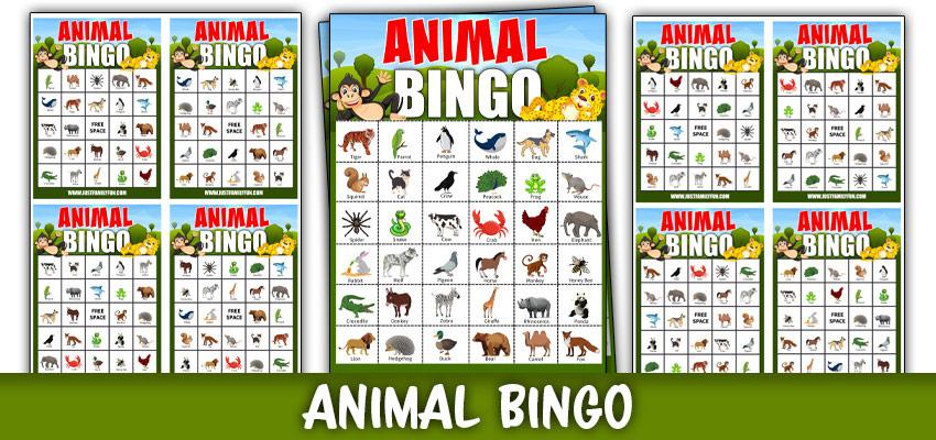Animal Bingo Game Cards