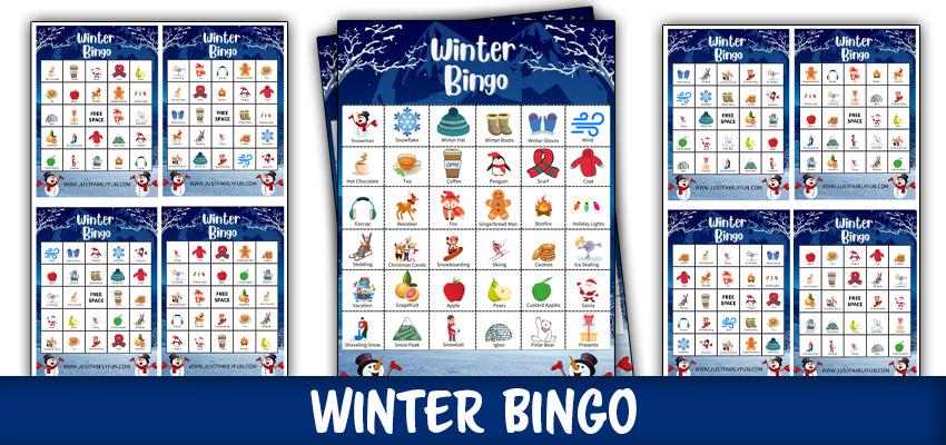 Winter Bingo Game Cards