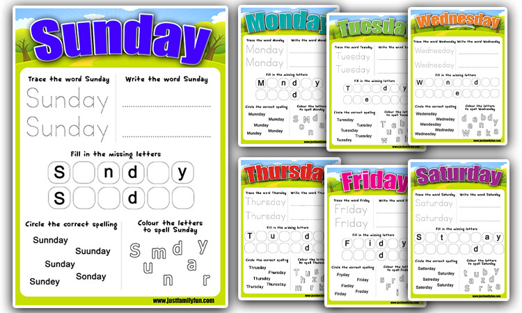 Days of the Week Writing and Spelling Sheets