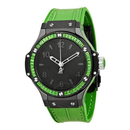 fb16c69e545b Hublot Big Bang Tutti Frutti Black Dial Green Strap Wrist Watch ...