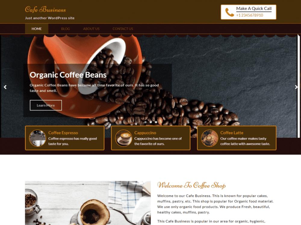 cafe business wordpress theme