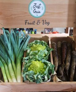 weekly organic fruit and veg box vegetables at Just Gaia, Halifax