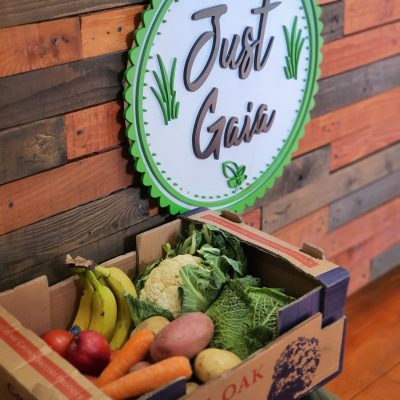 Just Gaia fruit and veg box for collection during lockdown