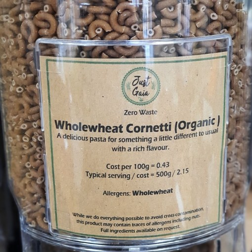 Organic Cornetti Pasta (wholewheat) in the Just Gaia zero waste grocery in Halifax, West Yorkshire