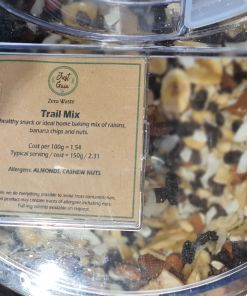 Trail mix display in the plastic free snacks and treats section Just Gaia zero waste grocery in Halifax, West Yorkshire