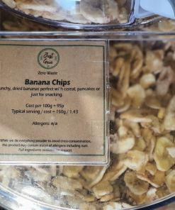 Banana chips dispenser in the plastic free snacks and treats section Just Gaia zero waste grocery in Halifax, West Yorkshire