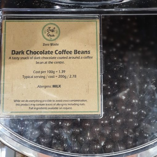 Dark chocolate coffee beans display in the plastic free snacks and treats section Just Gaia zero waste grocery in Halifax, West Yorkshire