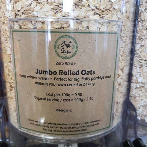 Jumbo oats dispenser in the plastic free snacks and treats section Just Gaia zero waste grocery in Halifax, West Yorkshire