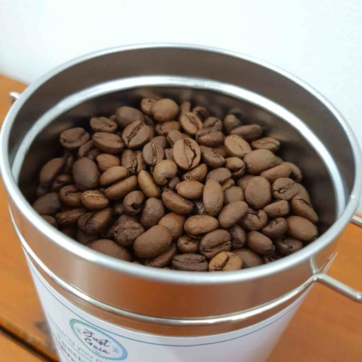 Just Gaia speciality coffee beans in tin
