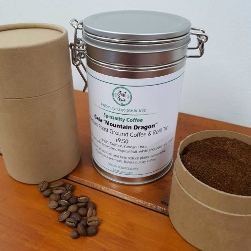 """Chinese speciality coffee """"Mountain Dragon"""" on display at Just Gaia Halifax, showcasing tins and paper pots for the fresh beans and ground coffee options. All plastic free."""