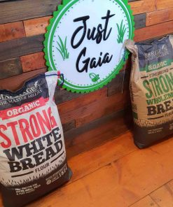 Organic strong bread flour on display at Just Gaia, showcasing both White and Wholemeal flour