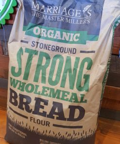 Organic strong bread flour on display at Just Gaia, wholemeal flour bag